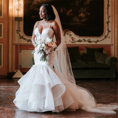 Fashion Spaghetti-Strap Appliques Wedding Dresses | Rubbons Mermaid Sleeveless Floral Bridal Gowns_2