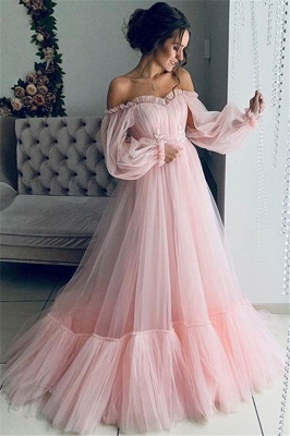 Glamour Off-The-Shoulder Sleeved Sheer-Quality Tulle Princess A-line Prom Dress | Suzhou UK Online Shop_2