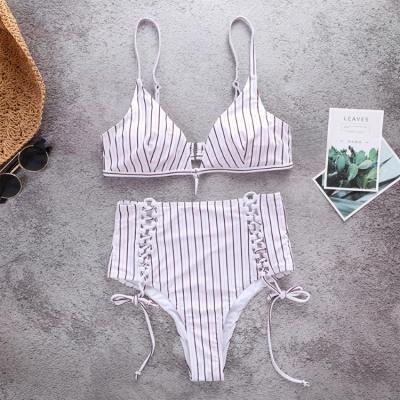 Vintage Ribbed Stripes Bra Two-piece Bikini Set_5