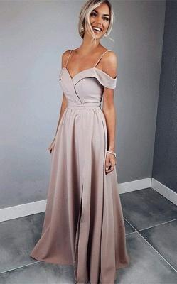 Glamorous Spaghetti Strap Prom Dresses Sleeveless Side Slit Sexy Evening Dresses_1