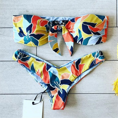 High Waist Strapless Colorful Patterns Two-piece Bikinis_5