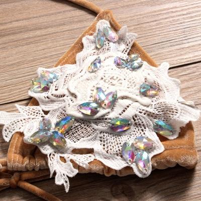 Shiny Sewing Diamonds Push-up Bra Triangle Bikini Swimsuits_4