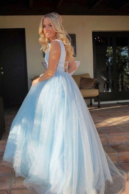 Glamorous Sequins Riboons Straps Prom Dresses | Ball Gown Sleeveless Evening Dresses with Beads_5