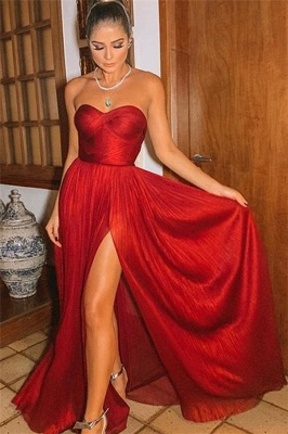Sexy Wine Red Strapless Side-Slit Princess A-line Long Prom Dresses | Suzhou UK Online Shop_1