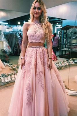Glamorous Lace Appliques Halter Two Piece Prom Dresses | Open Back Sleeveless Evening Dresses with Beads_1