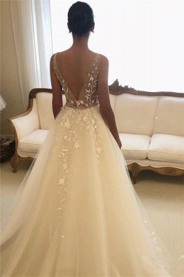 Gorgeous Sheer Straps Applique Wedding Dresses | Sleeveless Floral Bridal Gowns with ribbons_2
