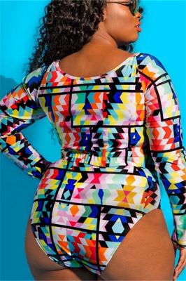 Plus Size One-piece Pattern Prints Cut-out Swimsuits_9