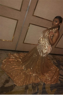 Glamorous Gold Halter Sequins Prom Dresses | Over Size Sexy Mermaid Sleeveless Evening Dresses_3