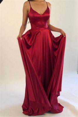 Spaghetti Strap Lace Up Prom Dresses   Side Slit Sleeveless Evening Dresses_2