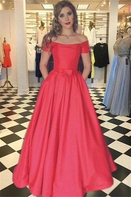 Glamorous Red Prom Dresses Bateau Off-the-Shoulder Sexy Evening Dress with Belt_1
