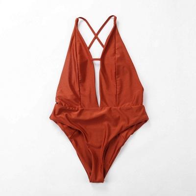Keyhole Sexy V-Neck Criss-cross High Waist Swimsuits_6