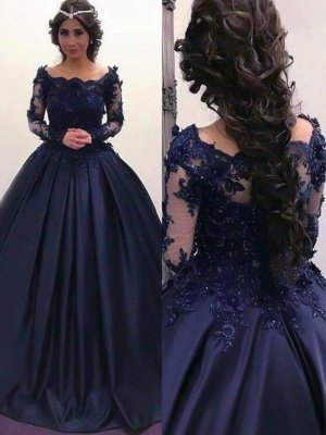 Lace Lace Appliques Bateau Long Sleeves Prom Dresses | Ball Gown Evening Dresses with Beads_2