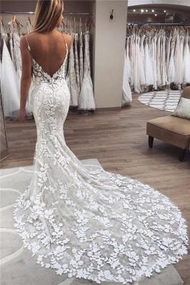 Elegant Mermaid Sleeveless Applique Spaghetti-Strap Wedding Dresses | Bridal Gowns On Sale_1