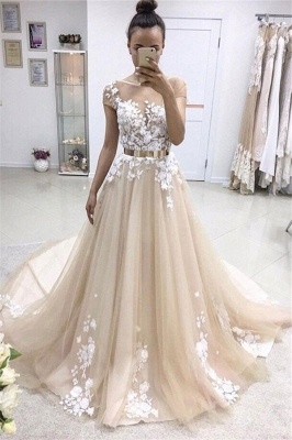 Lace Appliques Jewel Prom Dresses | Ribbons Sheer Sleeveless Evening Dresses