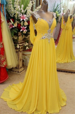 Charming Yellow Spaghetti Strap Open Back Prom Dresses | Sleeveless Lace Appliques Evening Dresses with Beads_1
