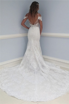 Sexy Lace V-Neck Wedding Dresses | Ruffles Sheer Cap Sleeve Floral Bridal Gowns_2
