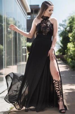 Black Lace Sleeveless Prom Dresses Tulle Side Slit Sexy Evening Dresses_2