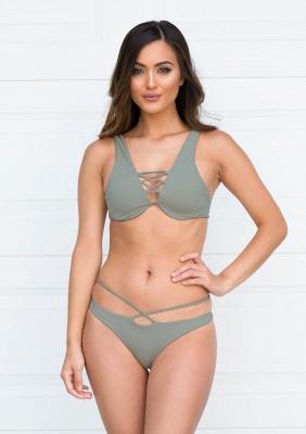 Lace-up Bandage Plain Two-piece Bikini Beachwears_9