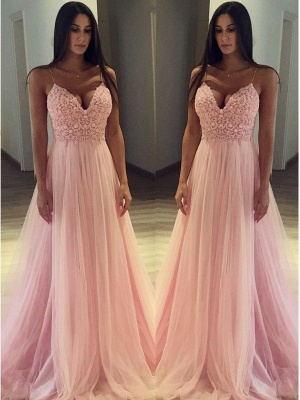 Pink Spaghetti Strap Applique Prom Dresses Sleeveless Tulle  Sexy Evening Dresses_2
