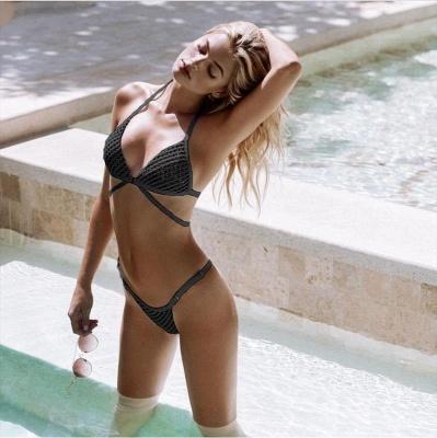 Mesh Triangle Pads Bandage Two-piece Bikini Swimsuits_4