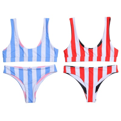 Vintage Scoop Spaghetti Striped Two-piece Swimsuits_6