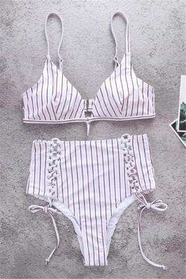 Vintage Ribbed Stripes Bra Two-piece Bikini Set_1