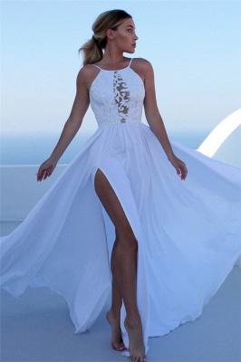 Glamorous Lace Appliques Halter Prom Dresses   Side slit Sleeveless Evening Dresses with Keyhole_1