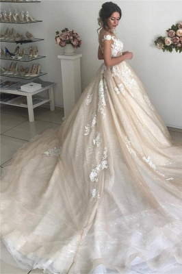 Sexy Applique Off-the-Shoulder Wedding Dresses | Sequins Backless Sleeveless Floral Bridal Gowns_2