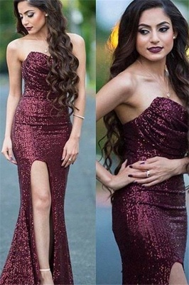 Burgundy Sequins Sweetheart Prom Dresses Mermaid Ruffles Sexy Evening Dresses_1