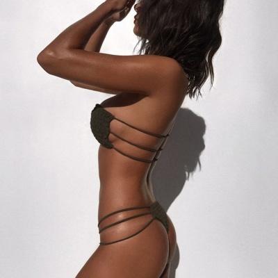 Solid Bandage Strapless Two-piece Bikini Sets_9