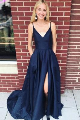 Pocket Spaghetti-Strap Prom Dresses   Side slit Sexy Mermaid Sleeveless Evening Dresses_1