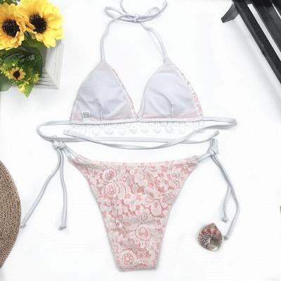 Cute Lace V-neck Two-piece Bandage Bikini Swimwears_6