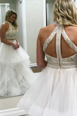 Beads halter Lace Appliques Prom Dresses | Two Piece Tulle Sleeveless Evening Dresses_2