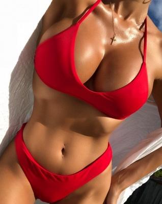 Colorful Solid Thong Bikinis Low Waist Bathing Suit Set_2