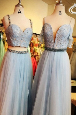 Lace Appliques Spaghetti-Strap Crystal Prom Dresses   Two Piece Sleeveless Evening Dresses with beads_2