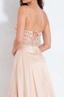 Glamorous Spaghetti-Strap Crystal Prom Dresses   Side slit Sleeveless Evening Dresses with  Beads_2