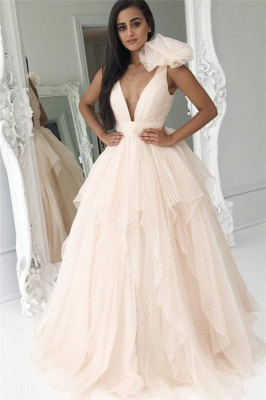 Ruffles V-Neck Bowknot Prom Dresses | Cheap Tiered Sleeveless Evening Dresses_1