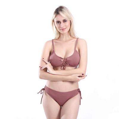 Spaghetti Straps Lace-up Bras Two-piece Bikini Swimsuits_9