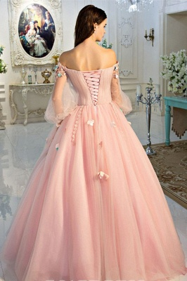 Glamorous Flower Off-The-Shoulder Lace Appliques Prom Dresses | Lace-Up Ball Gown Longsleeves Evening Dresses_3