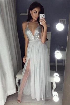 Glamorous Sequins Halter Lace Appliques Prom Dresses | Side slit Sheer Sleeveless Evening Dresses_2