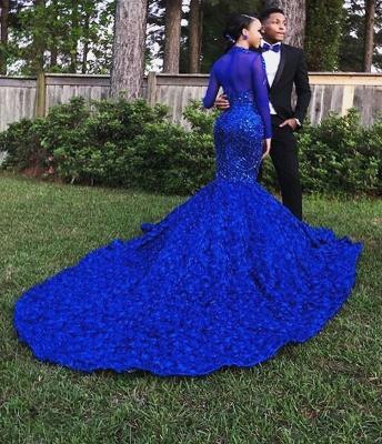 Amazing Royal Blue Sleeved Hign-Neck Flower Applique Trumpet Evening Gown | Suzhou UK Online Shop_2