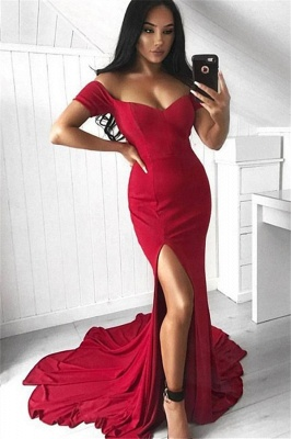 Red Off-the-Shoulder Prom Dresses Mermaid Sleeveless Side Slit Sexy Evening Dresses_1