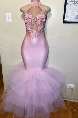 Pink Halter Summer Sleeveless Flower Appliques Quality Tulle Trumpet Prom Dress | Suzhou UK Online Shop_1