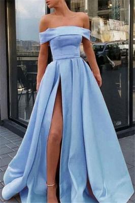 Glamorous Off-the-Shoulder Ruffles Prom Dresses Side Slit Sleeveless Sexy Evening Dresses_1
