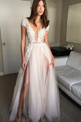 V-Neck Lace Appliques Prom Dresses | Sheer Sleeveless Evening Dresses_4
