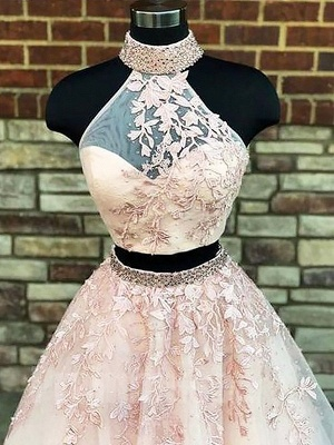 Glamorous Halter Two Piece Lace Appliques Prom Dresses   Lace Up Crystal Evening Dresses with Beads_2