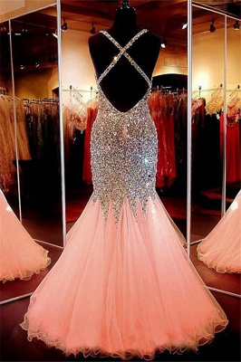 Spaghetti Strap Beads Crystal Prom Dresses | Sleeveless Pink Lace Up Evening Dresses_3