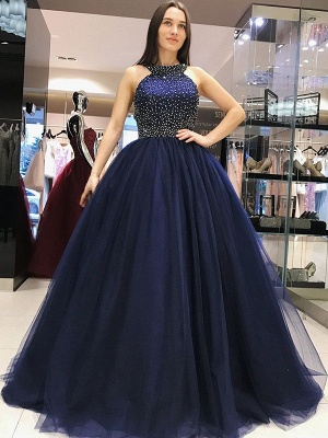 Glamorous Halter Crystal Bow-knot Open Back Prom Dresses Ball Gown Sleeveless Sexy Evening Dresses_2