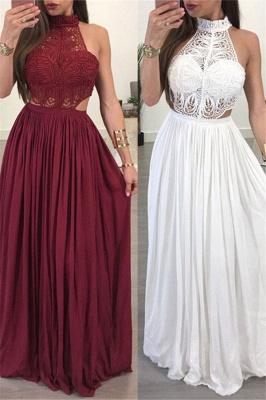 Lace Halter Sleeveless Ruffles Prom Dresses Popular  Sexy Evening Dresses_2