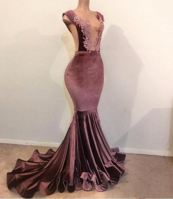 Trumpet Summer Sleeveless Floor Length Appliques Velvet Prom Dresses | Suzhou UK Online Shop_1